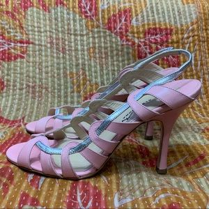 ALEXANDRA NEEL Pink Silver Strappy Heels Leather